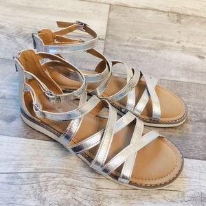 Hanna Andersson Vera 2 Gladiator Silver Sandals 5
